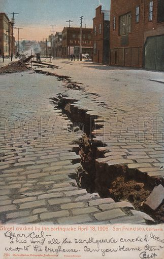 Street cracked by the earthquake, 18 April 1906, San Francisco, California.  Postcard, early 20th century.
