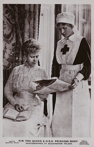 The Queen and Princess Mary photographed at Buckingham Palace, the Princess in nurse's dress
