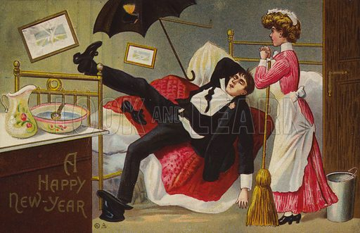 A Happy New Year, Man drunk on his bed, Maid looking on