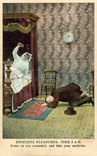 Domestic Pleasures, time 2.00am.  Postcard, early 20th century.