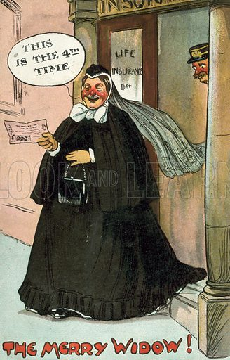 The Merry Widow, receiving her insurance money.  Postcard, early 20th century.