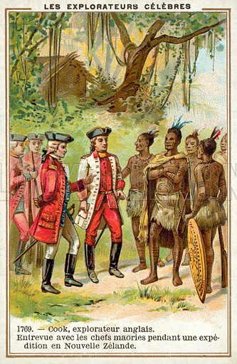 Captain Cook meeting with Maori chiefs in New Zealand, 1769. Educational card, early 20th century, from a series on famous explorers.