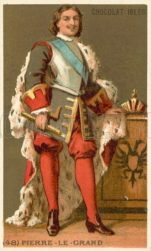 Peter the Great, Tsar of Russia (1672-1725). Educational card, late 19th or early 20th century.