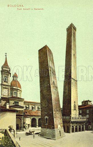 Bologna, Italy, Torri Asinelli E Garisendi.  Postcard, early 20th century.