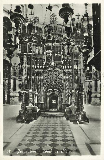 Jerusalem, Tomb of Christ.  Postcard, early 20th century.