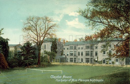 Claydon House, Home of Miss Florence Nightingale.  Postcard, early 20th century.