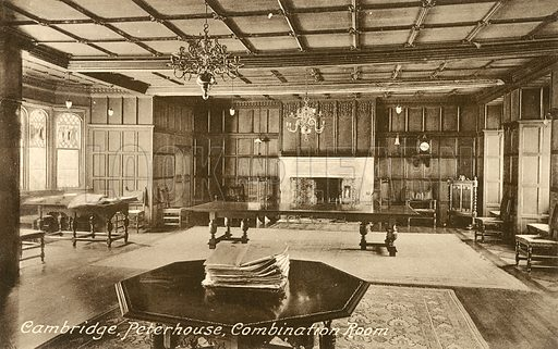 Combination Room, Peterhouse, Cambridge.  Postcard, early 20th century.