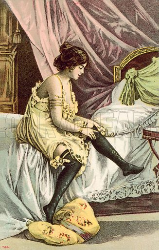 Semi-clad girl, sitting on bed, adjusting her stockings.  Postcard, early 20th century.