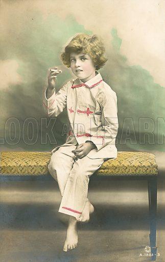 Child, wearing pyjamas, smoking