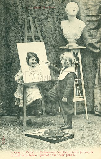Children painting, girl with head through canvas.  Postcard, early 20th century.