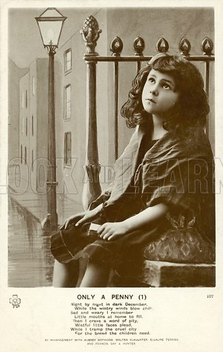Young girl match seller.  Postcard, early 20th century.
