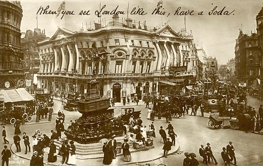 Piccadilly Circus, London, as seen by a drunk