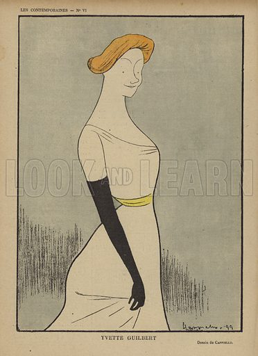 Yvette Guilbert.  Illustration for Le Rire, 9 September 1899.