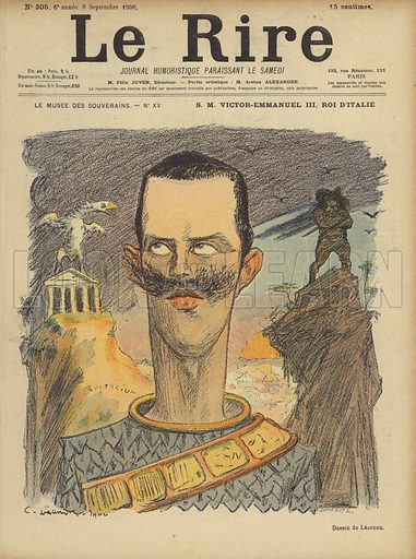Victor Emmanuel III, King of Italy, Illustration for Le Rire