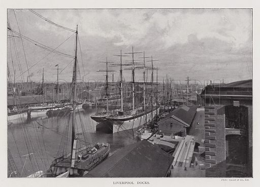 Liverpool Docks. Illustration for Britain At Work, A Pictorial Description Of Our National Industries (Cassell, 1902).