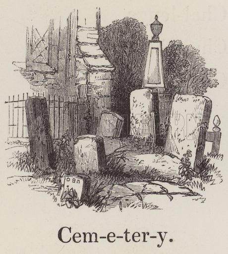 Cemetery. Illustration for An Illustrated Vocabulary For The Use Of The Deaf And Dumb (SPCK, 1857).