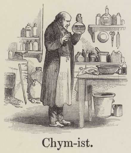 Chymist. Illustration for An Illustrated Vocabulary For The Use Of The Deaf And Dumb (SPCK, 1857).