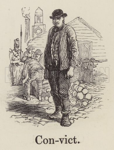 Convict. Illustration for An Illustrated Vocabulary For The Use Of The Deaf And Dumb (SPCK, 1857).