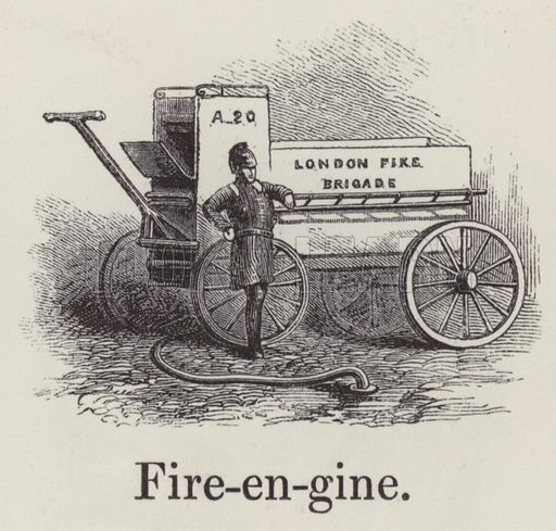 Fire engine. Illustration for An Illustrated Vocabulary For The Use Of The Deaf And Dumb (SPCK, 1857).