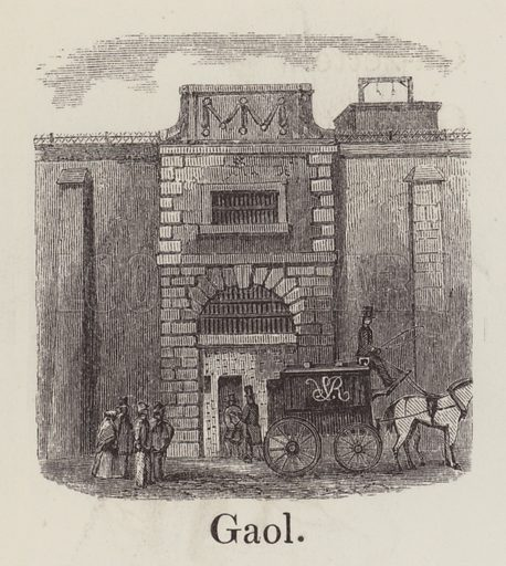 Gaol. Illustration for An Illustrated Vocabulary For The Use Of The Deaf And Dumb (SPCK, 1857).