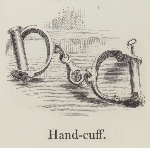 Handcuff. Illustration for An Illustrated Vocabulary For The Use Of The Deaf And Dumb (SPCK, 1857).