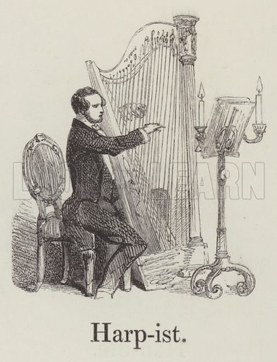 Harpist. Illustration for An Illustrated Vocabulary For The Use Of The Deaf And Dumb (SPCK, 1857).