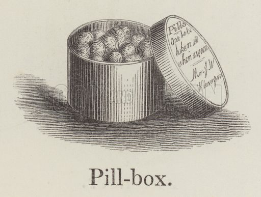 Pillbox. Illustration for An Illustrated Vocabulary For The Use Of The Deaf And Dumb (SPCK, 1857).