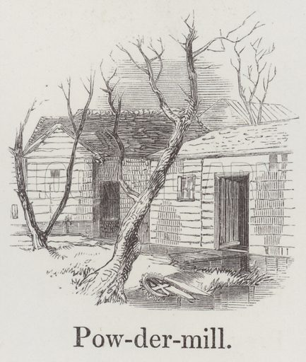 Powder mill. Illustration for An Illustrated Vocabulary For The Use Of The Deaf And Dumb (SPCK, 1857).