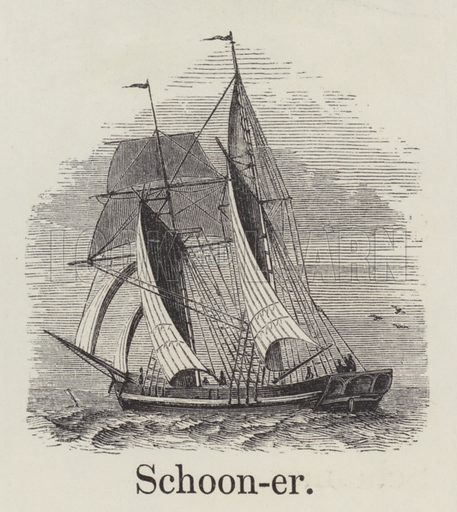 Schooner. Illustration for An Illustrated Vocabulary For The Use Of The Deaf And Dumb (SPCK, 1857).