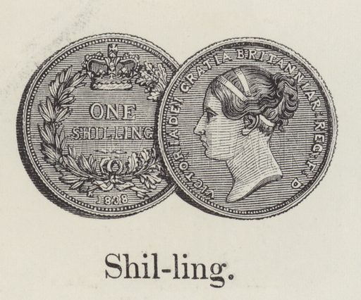 Shilling. Illustration for An Illustrated Vocabulary For The Use Of The Deaf And Dumb (SPCK, 1857).