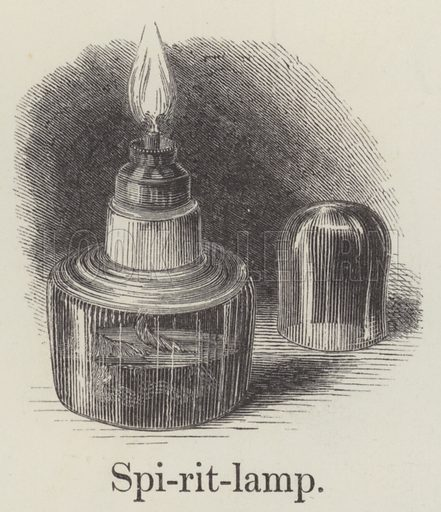 Spirit lamp. Illustration for An Illustrated Vocabulary For The Use Of The Deaf And Dumb (SPCK, 1857).