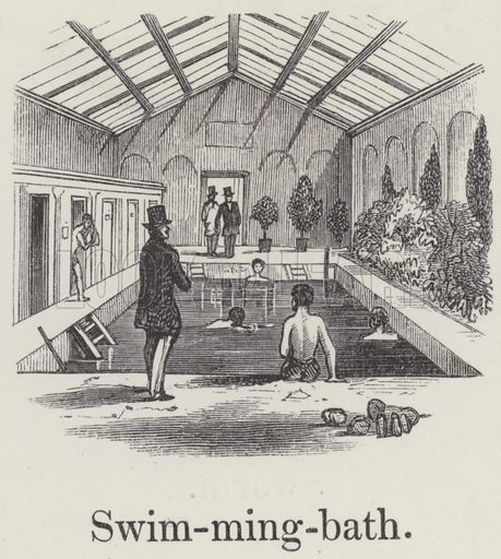 Swimming bath. Illustration for An Illustrated Vocabulary For The Use Of The Deaf And Dumb (SPCK, 1857).
