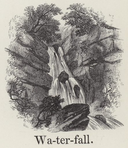 Waterfall. Illustration for An Illustrated Vocabulary For The Use Of The Deaf And Dumb (SPCK, 1857).