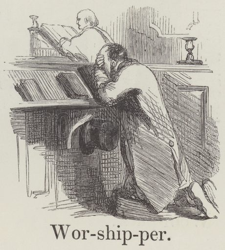 Worshipper. Illustration for An Illustrated Vocabulary For The Use Of The Deaf And Dumb (SPCK, 1857).