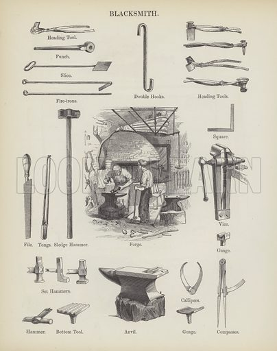 Blacksmith. Illustration for An Illustrated Vocabulary For The Use Of The Deaf And Dumb (SPCK, 1857).
