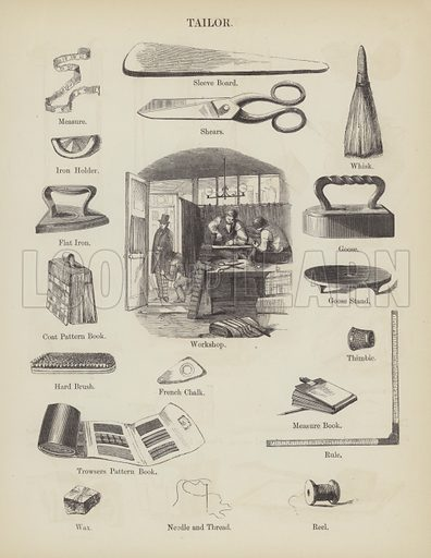Tailor. Illustration for An Illustrated Vocabulary For The Use Of The Deaf And Dumb (SPCK, 1857).