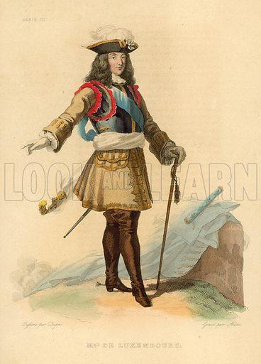 Marechal Duc de Luxembourg. Illustration for Le Plutarque Francais by Ed Mennechet (Crapelet, 1837-1841).