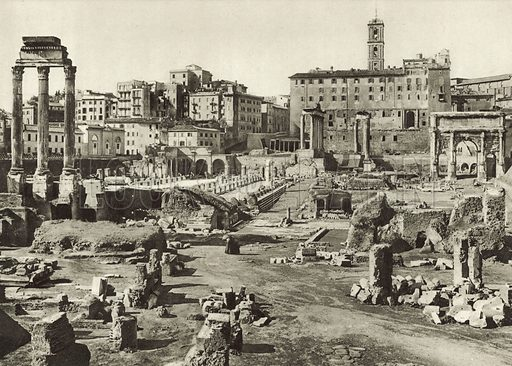 Roman Forum and Basilica Julia. Late 19th or early 20th century. Printed in gravure.