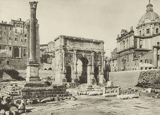 Roman Forum, Arch of Septimius Severus with the Column of Phocas. Late 19th or early 20th century.  Printed in gravure.