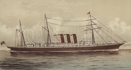 "The SS ""City of New York"", Inman and International Line. Illustration for Pen and Pencil magazine, late 19th century."