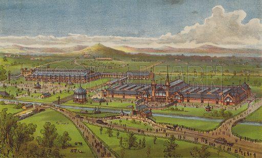 International Exhibition, Edinburgh, 1890, opened on Thursday, 1st May, by HRH the Duke of Edinburgh, KG. Illustration for Pen and Pencil magazine, late 19th century.