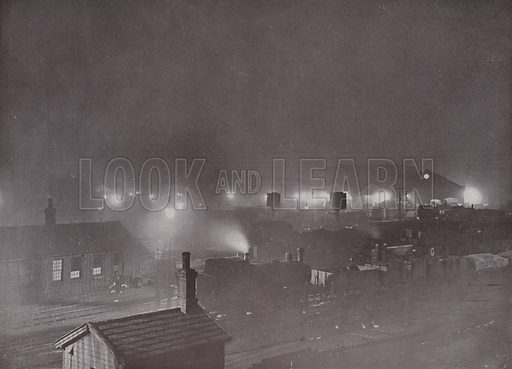 King's Cross Goods Yard at Night. Illustration for Pictorial London (Cassell, c 1905).  A reprint of The Queen's London (1896), with some additional photographs.
