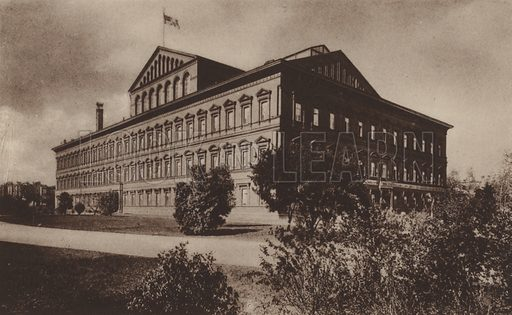 Pension Bureau. From a set of pictures of Washington DC, very early 20th century.  Printed in gravure.