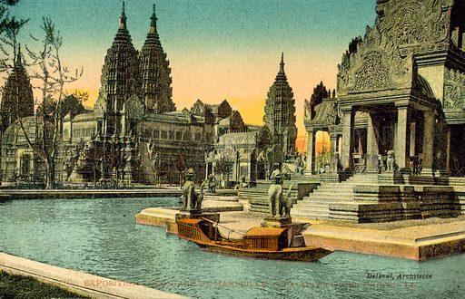 Exposition Coloniale De Marseilles, Palais De Indo Chine. Postcard, early 20th century.