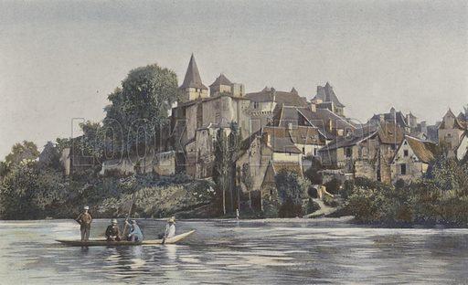 Carennac, Vue d'ensemble de la ville sur la rive g du Lot. Illustration for La France Du Sud-Ouest by Charles Brossard (Flammarion, 1902).