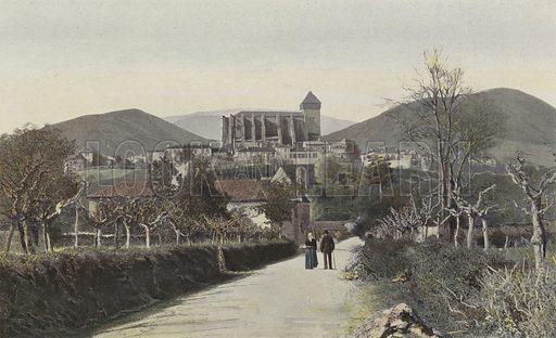 Saint-Bertrand-de-Comminges, Vue generale. Illustration for La France Du Sud-Est by Charles Brossard (Flammarion, 1902).