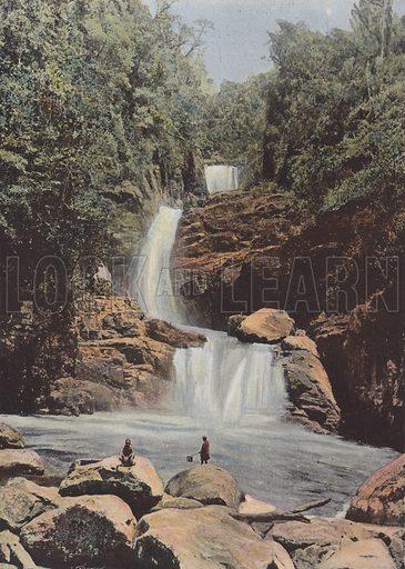 Cascade De Namora, Cote Est. Illustration for Autour Du Monde (L Boulanger, c 1900).