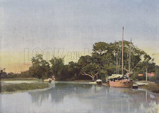 Canal Dans L'Interieur Des Terres. Illustration for Autour Du Monde (L Boulanger, c 1900).