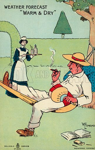 Weather forecast, warm and dry. Postcard, early 20th century.
