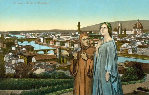 Florence, Dante and Beatrice. Postcard, early 20th century.